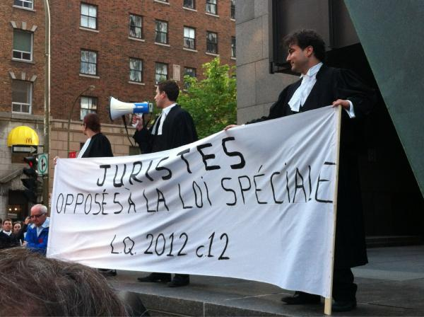 Jurists demonstrating against Law 78 in Old Montreal