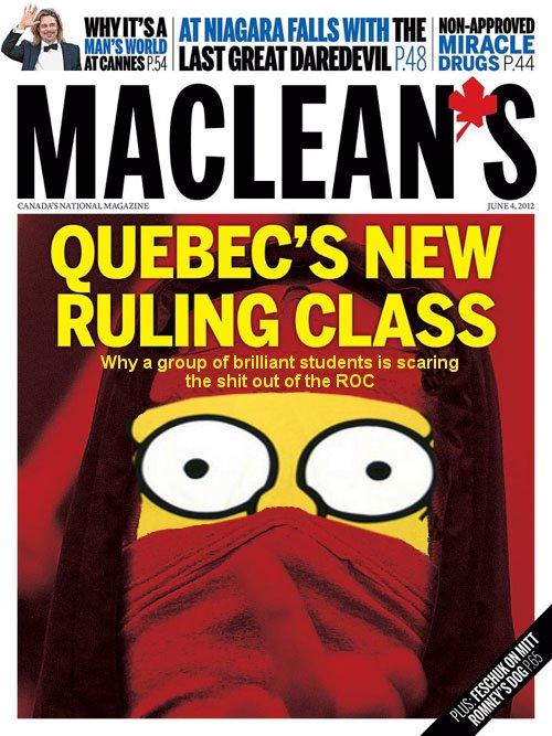 Parodie de la couvertude de maclean's par Imagerie populaire